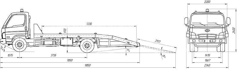 Эвакуатор с платформой ломаного типа на базе шасси Hyundai HD-78.